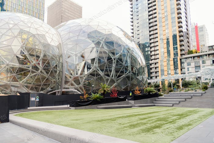 Amazon spheres in downtown Seattle with empty employee lawn