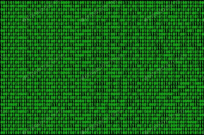 Imagen de un código binario borroso compuesto por un conjunto de números verdes sobre un fondo negro