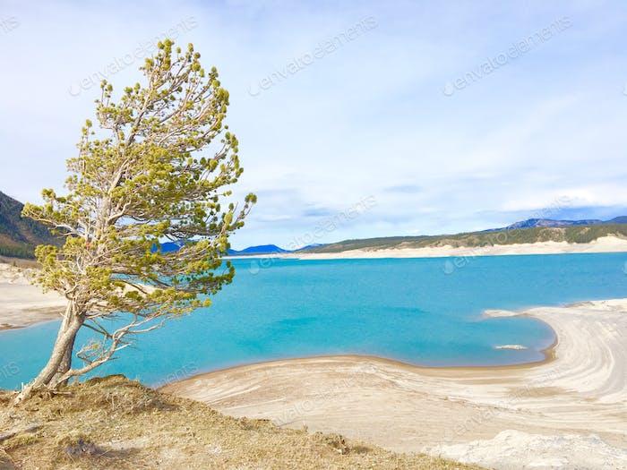Turquoise blue lake