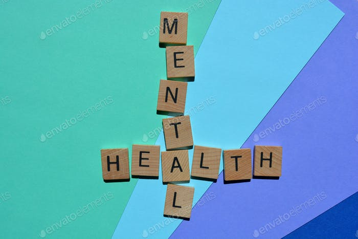 Mental Health, words in wooden alphabet letters in crossword form isolated on colourful background