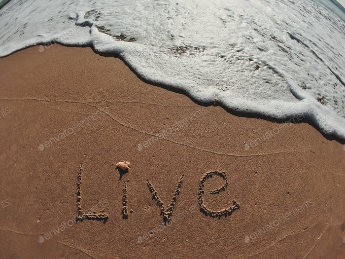 Live written in text on the shoreline