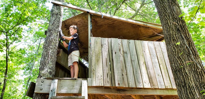 Little boy working on his treehouse doing maintenance...