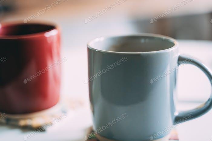 Coffee mugs on a table
