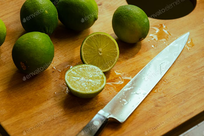 Getting ready to make a gin gimlet with fresh squeezed lime