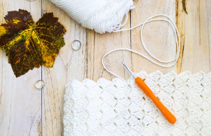 Cozy crochet project on a chilly day