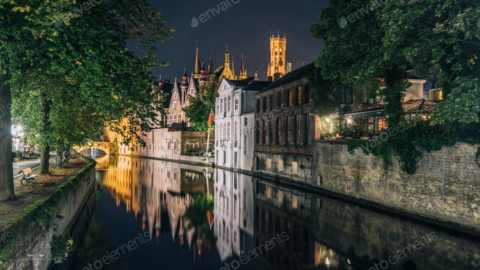 Bruges at night.