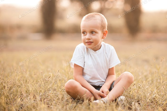 Cute kid boy 3-4 year old wearing casual white t-shirt sitting in meadow outdoors. Childhood.