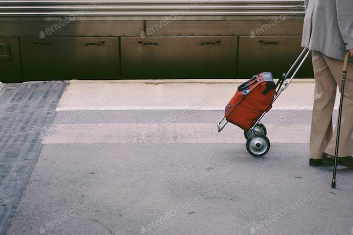Traveling senior citizen