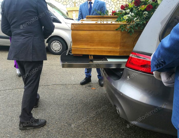 coffin in the hearse