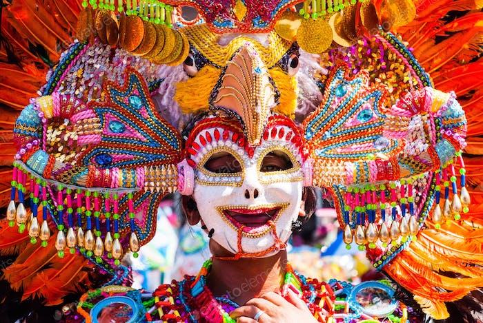 Colorful mask headdress. Masskara Festival, Bacolod City, Philippines