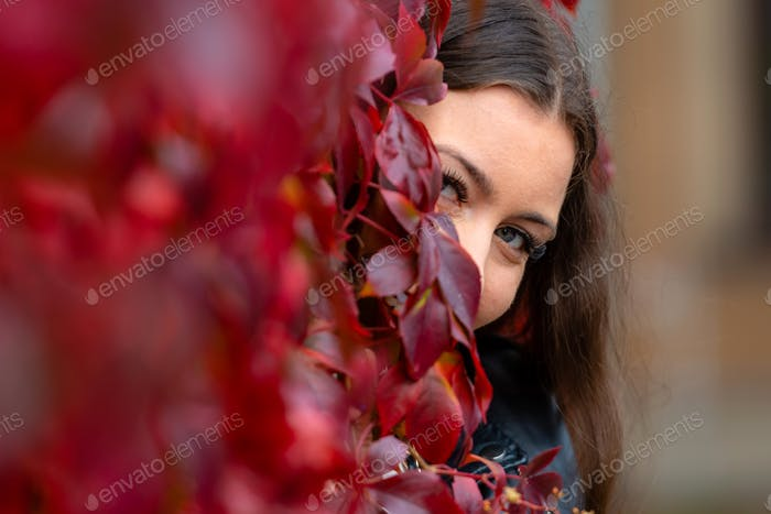Positive flirty young woman standing in ivy wall and looking though red leaves, play hide and seek