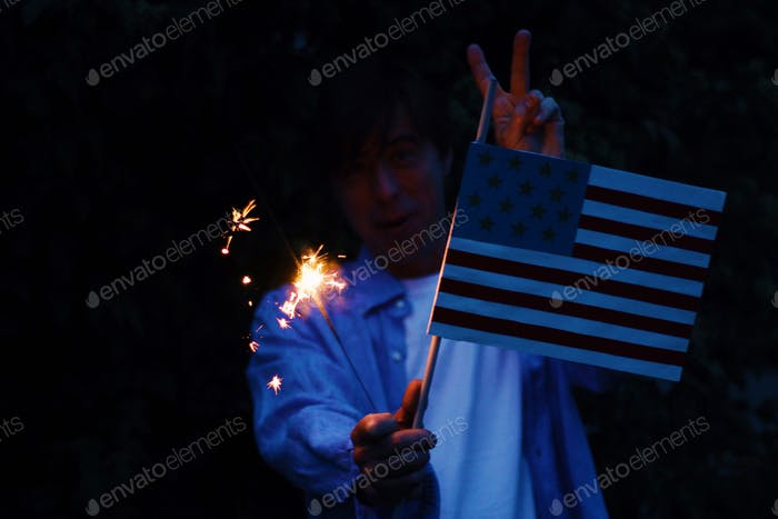 Fourth July with handmade flag