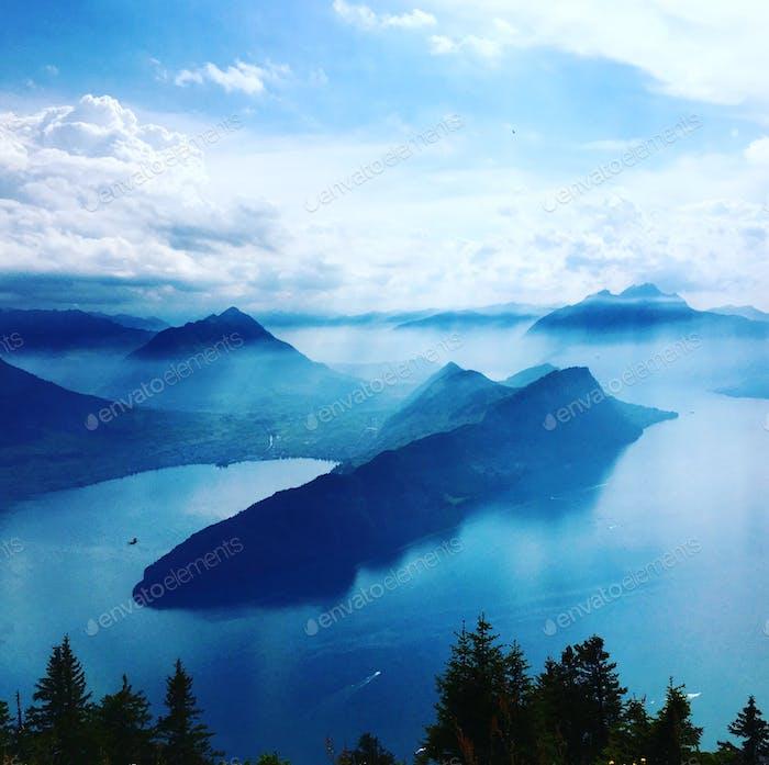 A bird view over Switzerland