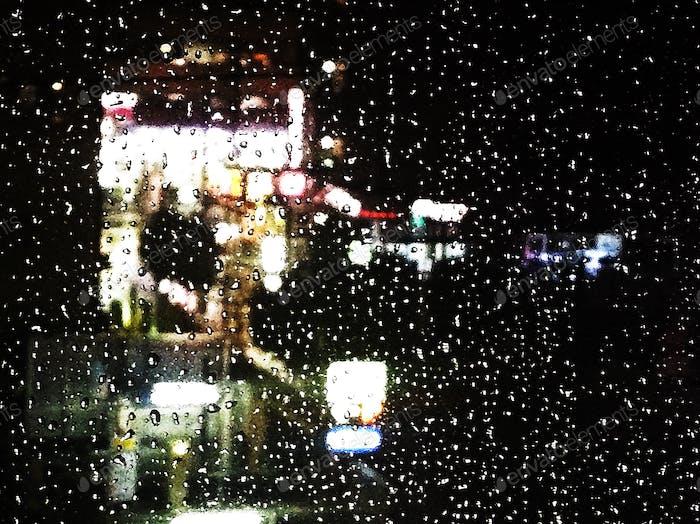 Rainy evening in Yokohama. Rain on a window. Nightshots.