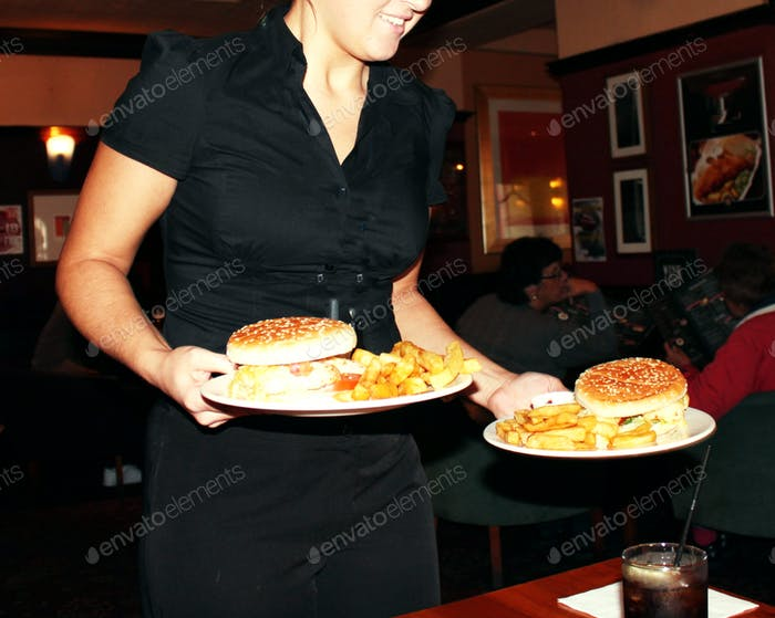 waitress with two rolls