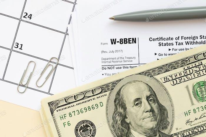 IRS-Formular W-8BEN Bescheinigung über den ausländischen Status des wirtschaftlichen Eigentümers für die Steuereinbehaltung der Vereinigten Staaten