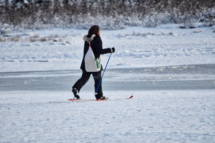 Nominated- Cross country skiing across a frozen lake in Alaska