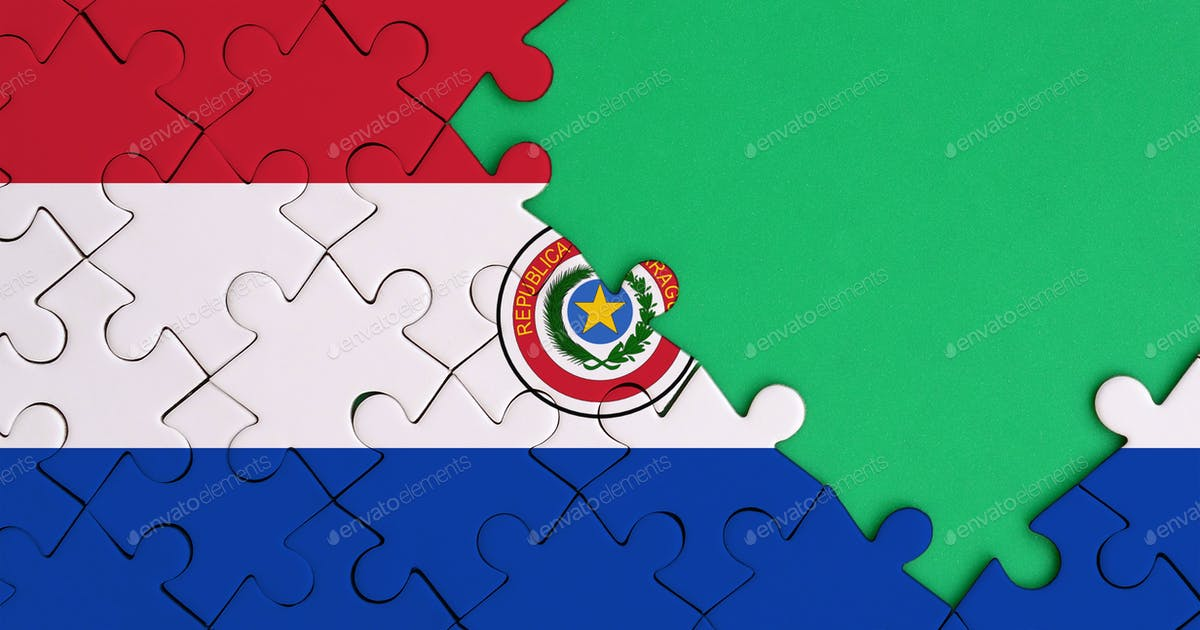 Paraguay Flag Is Depicted On A Completed Jigsaw Puzzle With Free Green Copy Space On The Right Side Photo By Twenty20photos On Envato Elements