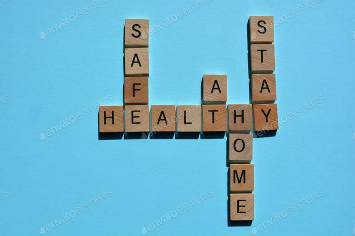 Stay Healthy, Stay At Home, words in crossword form on blue background