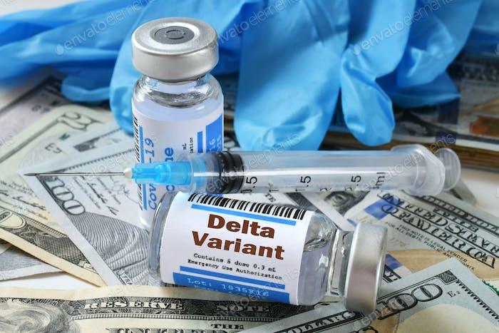 Delta Variant Covid-19 vaccination vaccine cost concept - vials syringe on American money