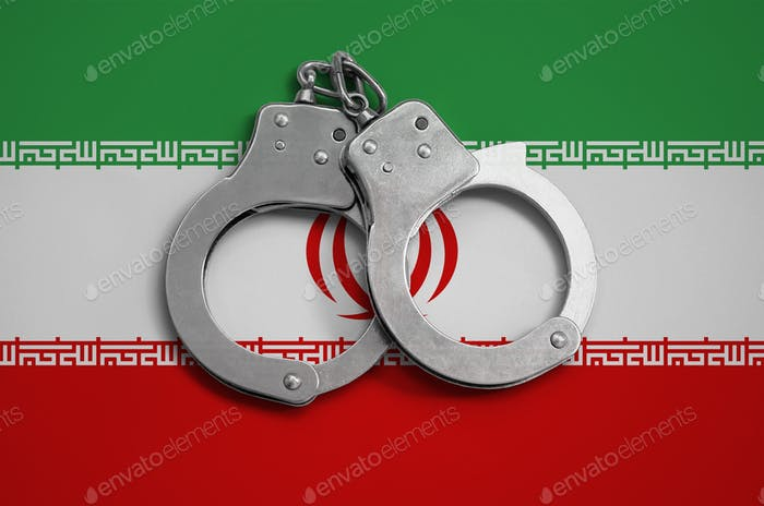 Iran flag  and police handcuffs