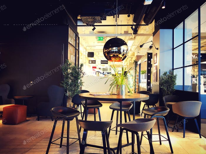 Cafe interior. Modern interior design. No people.