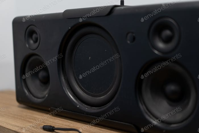 old audio speakers isolated on white background