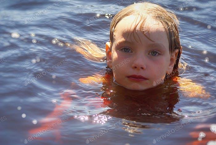 Bathing in the lake