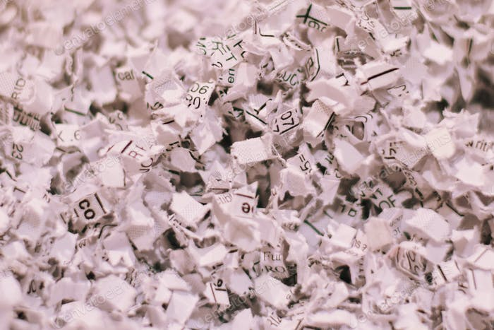 Shredded paper documents