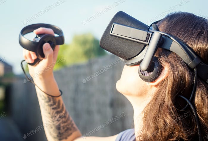 Virtuelle Realität, VR, 3D, Spiel, Gamer, Spiele, Frau, spielen, Augmented Reality, Nachschlagen, Gadgets