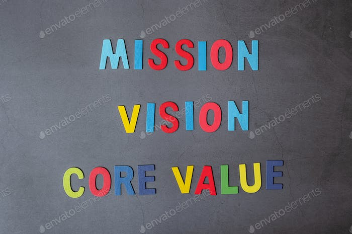 Colorful alphabet of MISSION, VISION and CORE VALUE concepts