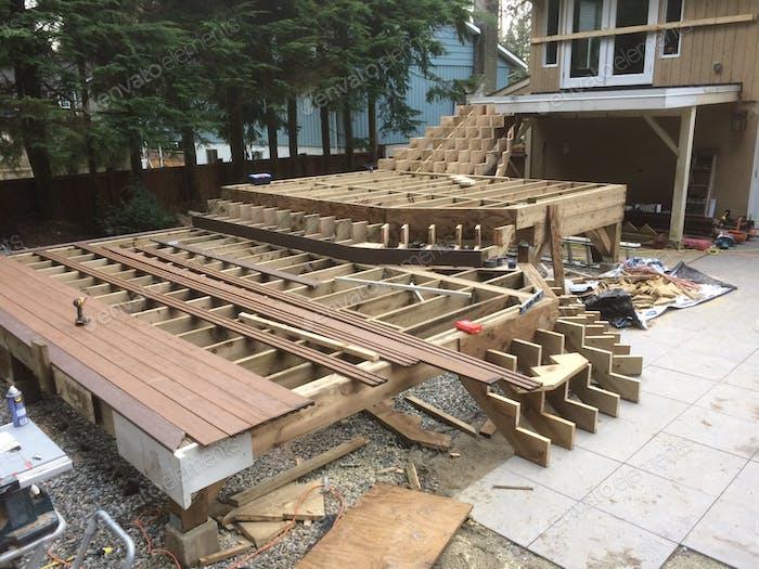 Building of a custom wood deck
