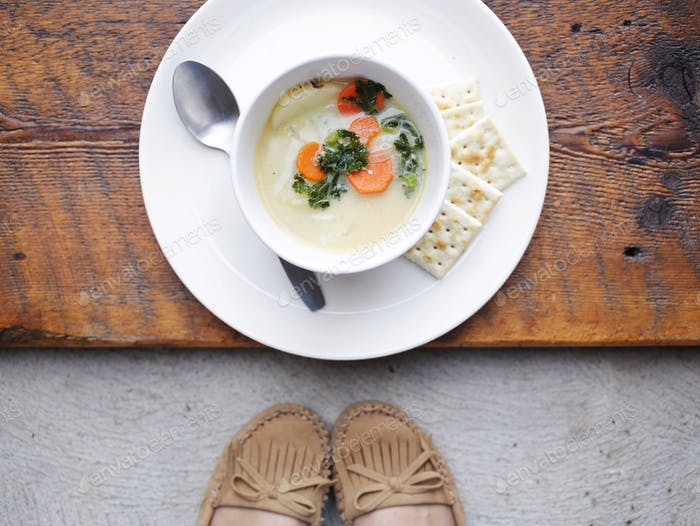 SOUP ON A PLATE WITH RUSTIC ACCENTS