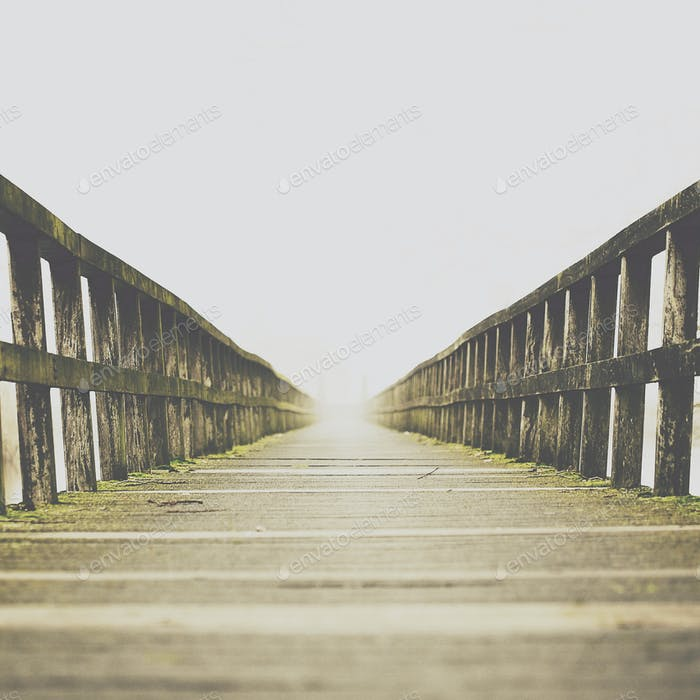 Vanishing point at the end of a bridge