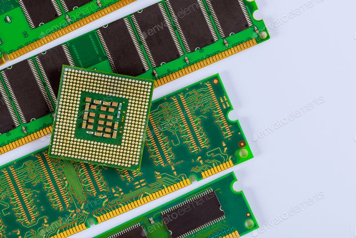 Processor CPU and RAM memory modules in isolated on white background