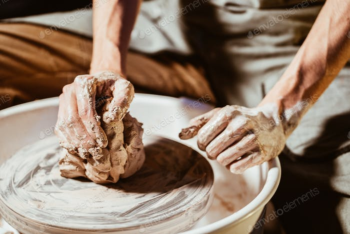 Creating earthenware and traditional pottery concept