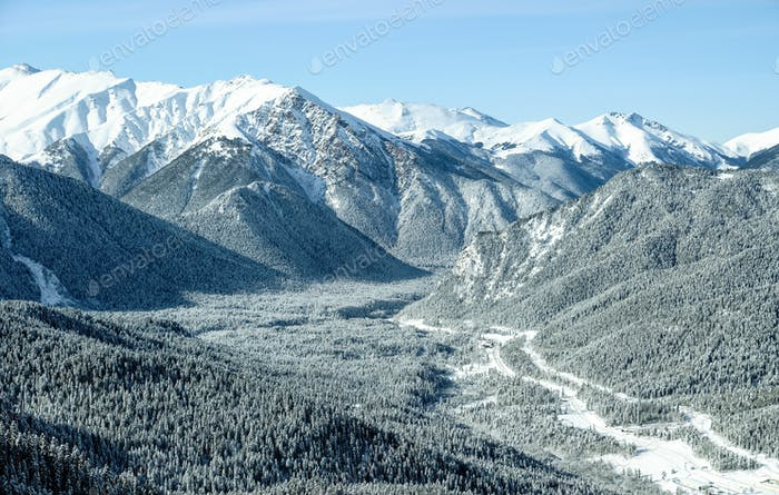 Snow-covered mountain valley