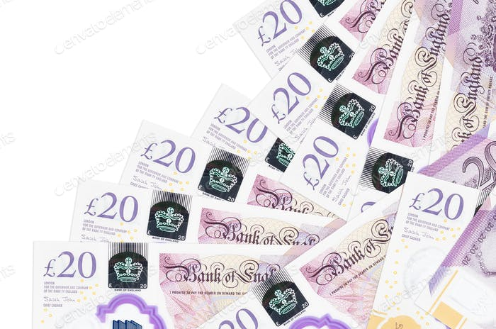 20 British pounds bills lies in different order isolated on white. Local banking or money making co