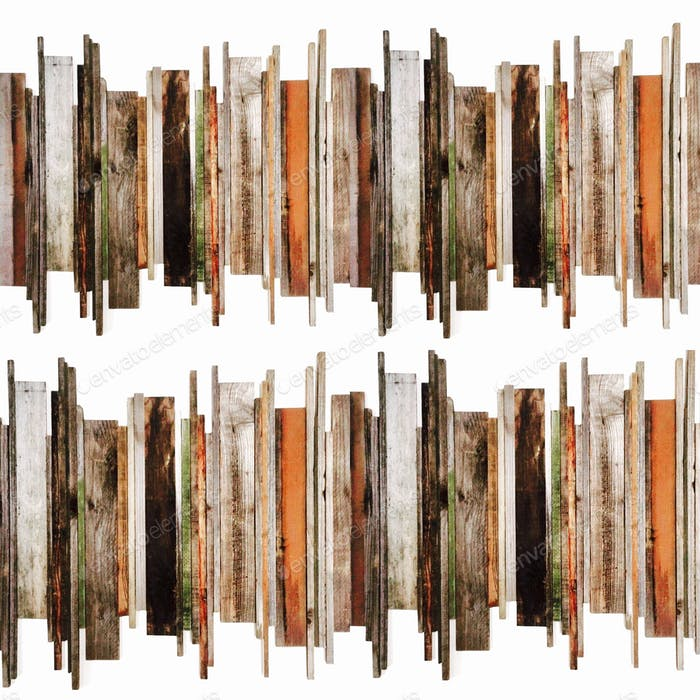 Mixed media wood planks vertical wall art paneling staggered random uneven texture