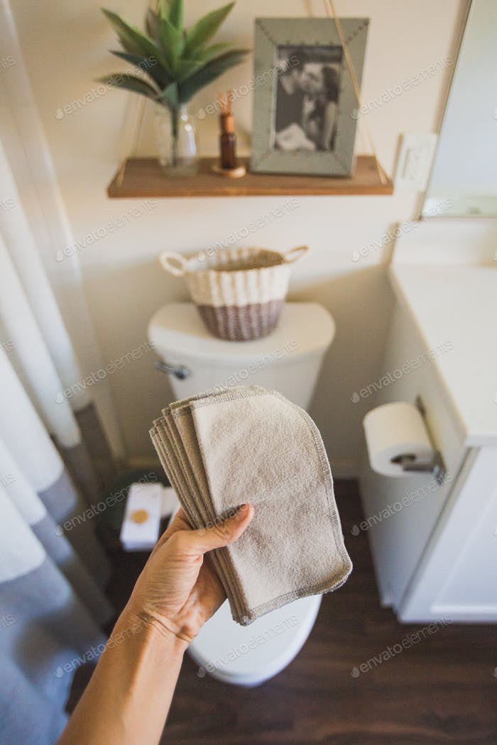 Flannel wipes in the bathroom
