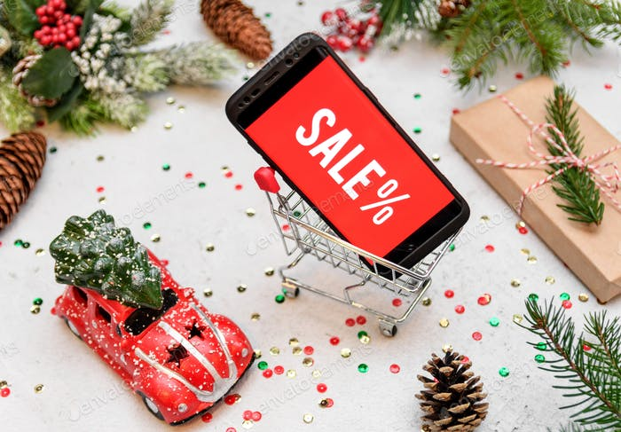 Christmas sale, online shopping, ad, campaign, christmas decorations.