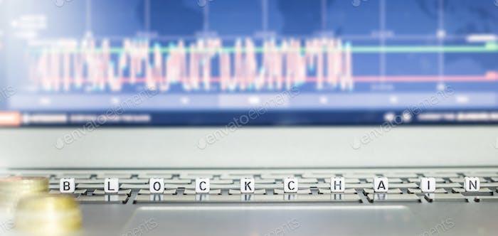 Blockchain word on laptop