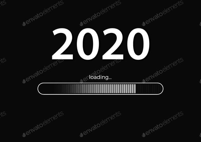 Text -  2020 loading and loading bar on black background
