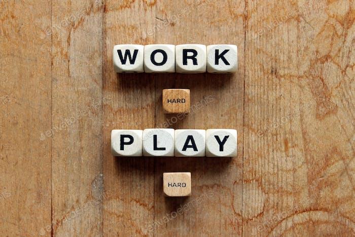 Work hard, play hard word dice