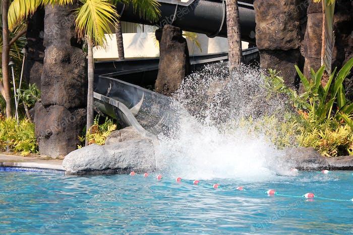 Splash at bottom of water slide