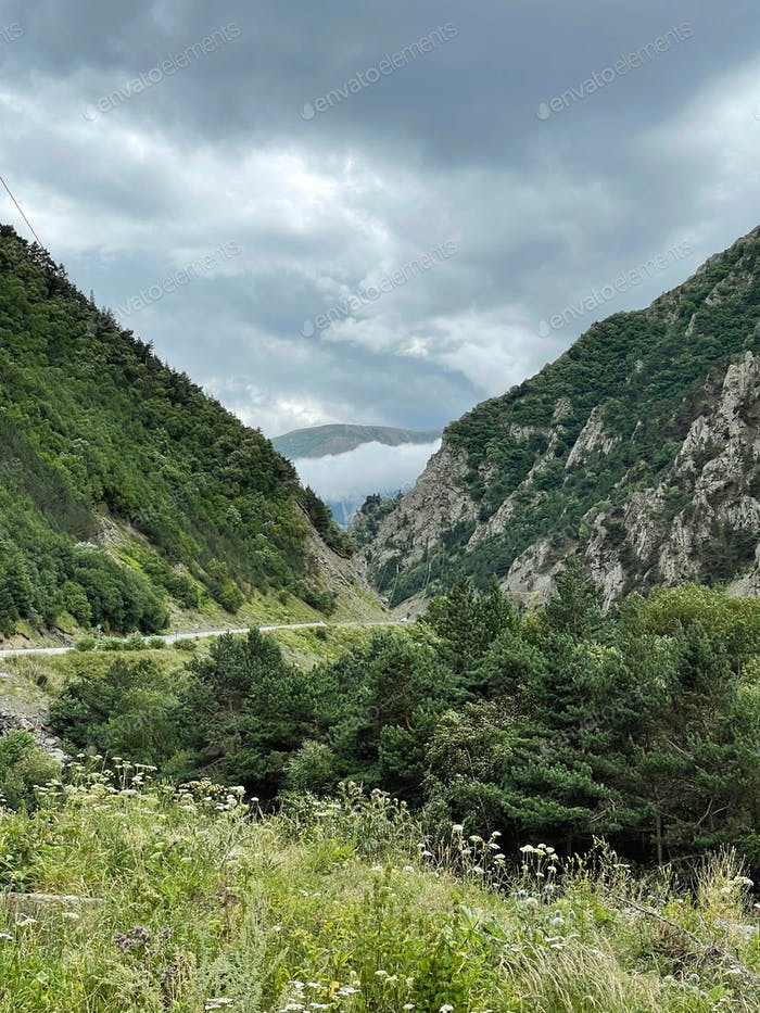 Road in the Karmadon Gorge, North Ossetia, Russia