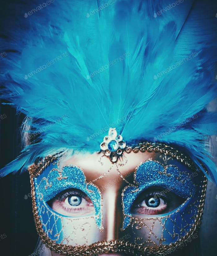 Blue feathers Mardi Grass carnival mask , blue eyes , blue colors