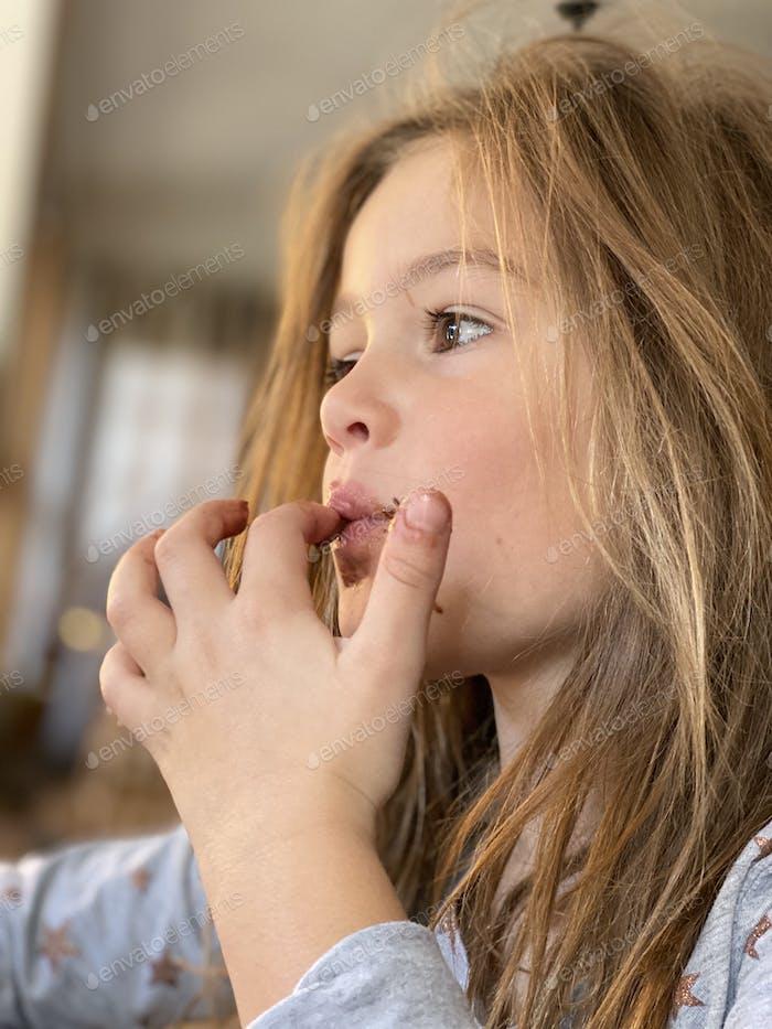 Sticky finger licking pancake eating morning