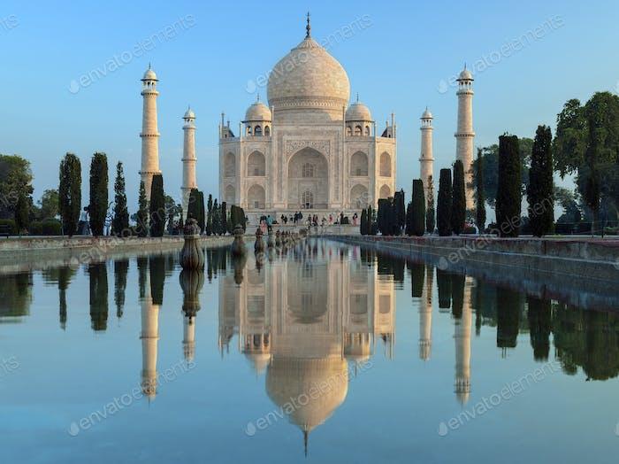 The Taj Mahal at dawn- a mausoleum at Agra in northern India
