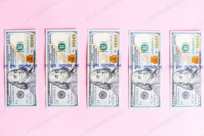 Cash Money dollar one hundred salary expenses banking finance financial flat lay top view overhead
